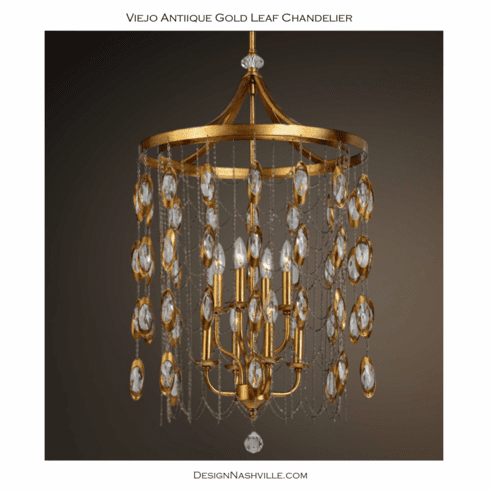 Viejo Antique Gold Leaf Chandelier