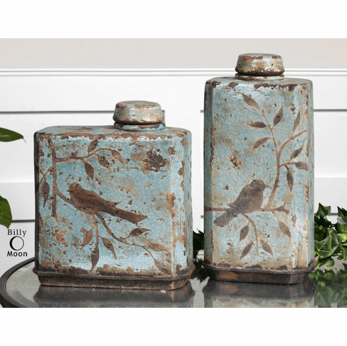 Villa Blue Bird Canisters, set of 2