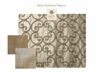 Villaro Embroidered Drapery Treatment