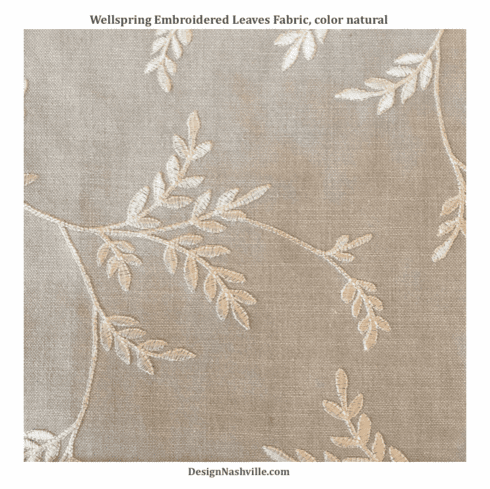 Wellspring Embroidered Leaves Fabric, color natural