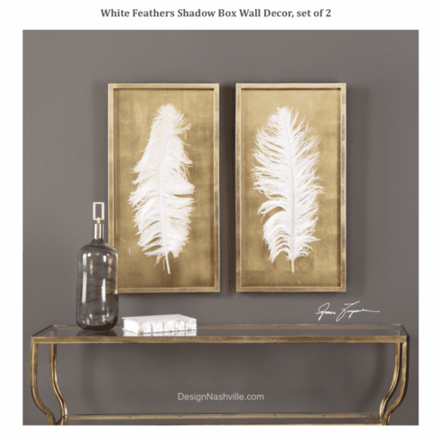 White Feathers Shadow Box Wall <BR>Decor, set of 2