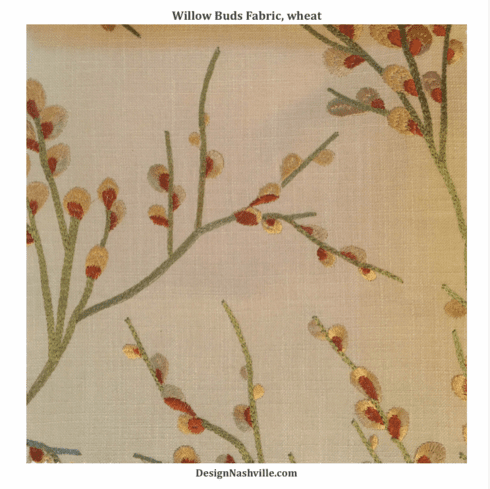 Willow Buds Embroidered Fabric, wheat