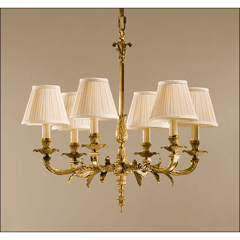 Wilshire 6 light Brass Chandelier