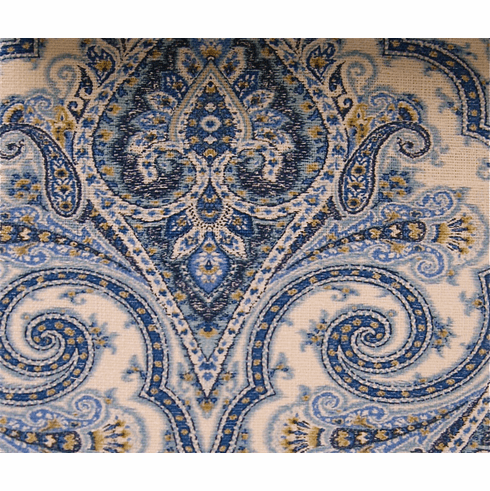 Wilshire Cliff Arabesque Fabric, blue white