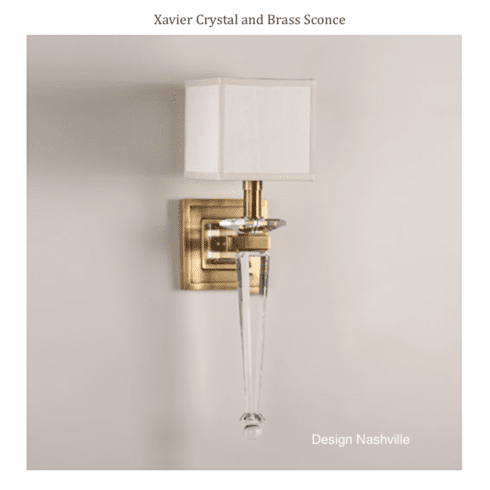 Xavier Crystal and Brass Torch Sconce