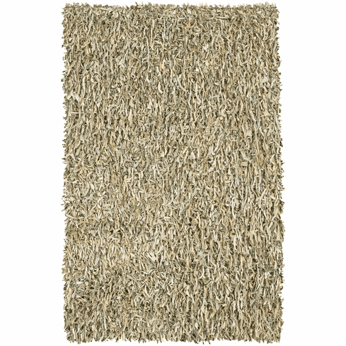 Zohan leather shag rug, natural