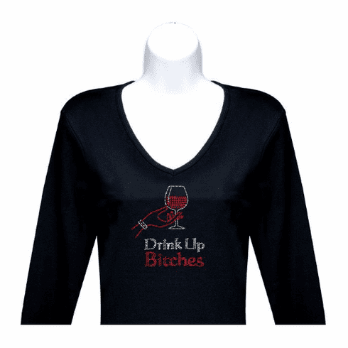 Drink Up Bitches Rhinestone V-Neck 3/4 Sleeve
