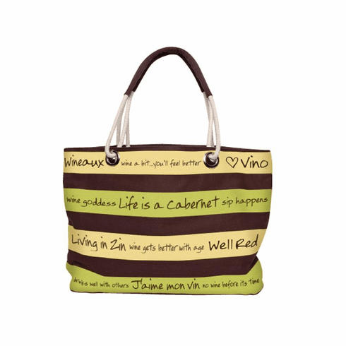 Tan and Yellow Stripe Shoulder Bag