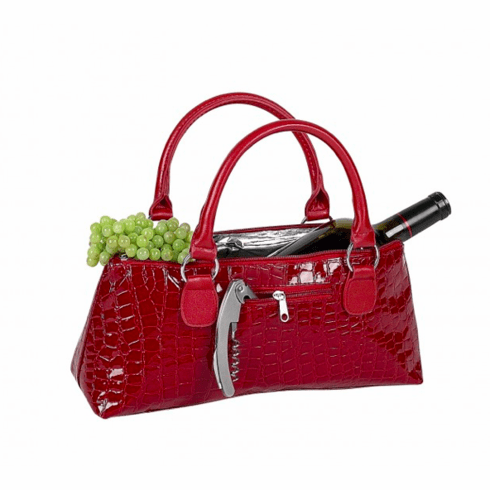 Wine Clutch - Red Croc