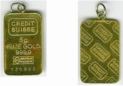 Credit Suisse 5 gram gold bar, looped.  **SOLD OUT**