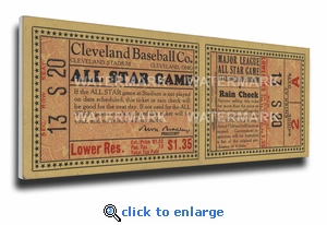 1935 MLB All-Star Game Canvas Mega Ticket - Indians Host - Cleveland Stadium