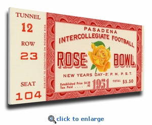 1951 Rose Bowl Canvas Mega Ticket - Michigan Wolverines