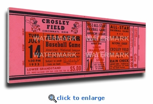 1953 MLB All-Star Game Canvas Mega Ticket, Reds Host - Crosley Field