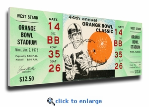 1978 Orange Bowl Canvas Mega Ticket - Arkansas Razorbacks
