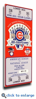 1990 MLB All-Star Game Canvas Mega Ticket, Cubs Host - MVP Julio Franco, Rangers (Small)