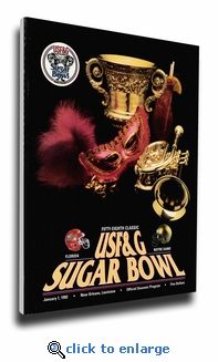 1992 Sugar Bowl Program Cover on Canvas - Notre Dame Fighting Irish