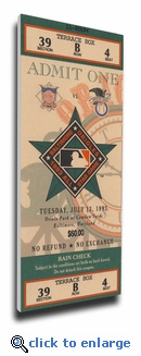 1993 MLB All-Star Game Canvas Mega Ticket, Orioles Host - MVP Kirby Puckett, Twins