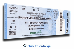2009 NHL Stanley Cup Finals Canvas Mega Ticket - Pittsburgh Penguins