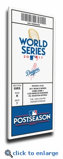 2017 World Series Los Angeles Dodgers Game 1 (Home Game 1) Canvas Mega Ticket (Small)