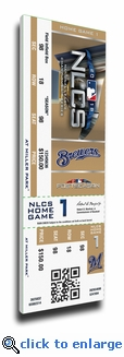 2018 NLCS Game 1 Canvas Mega Ticket - Milwaukee Brewers