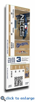 2018 NLCS Game 6 Canvas Mega Ticket - Milwaukee Brewers