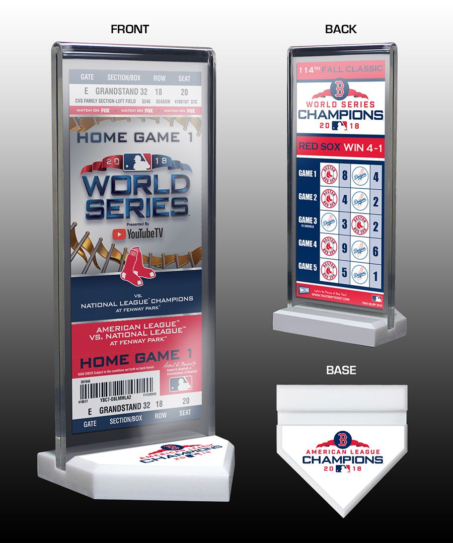 2018 World Series Champions Commemorative Ticket Display Stand - Boston Red  Sox