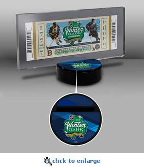 2019 NHL Winter Classic Hockey Puck Ticket Display Stand - Bruins vs Blackhawks