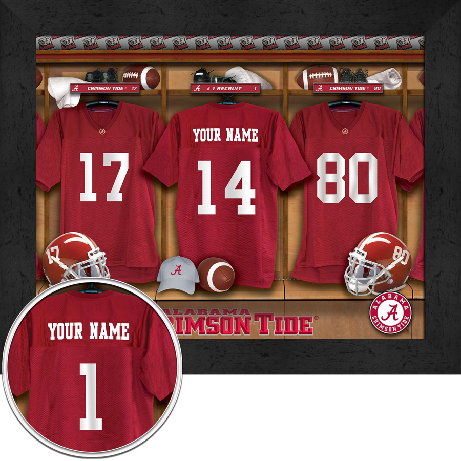 24ca60c206a NCAA Personalized College Football Locker Room Prints