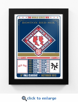 Boston Red Sox 1912 World Series Champions Vintage Framed Print