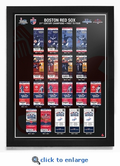 Boston Red Sox 21st Century Champions Tickets to History Framed Print - '04 '07 '13 '18 Champions