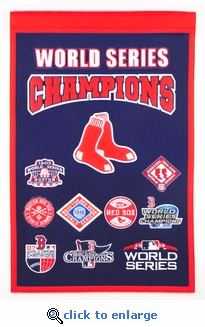 Boston Red Sox 9-Time World Series Champions Logo Banner 15x22