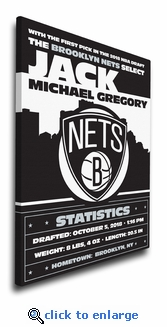 Brooklyn Nets Personalized Canvas Birth Announcement - Baby Gift