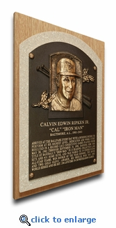 Cal Ripken Jr Baseball Hall of Fame Plaque on Canvas (small) - Baltimore Orioles