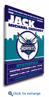 Charlotte Hornets Personalized Canvas Birth Announcement - Baby Gift