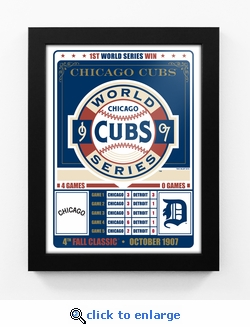 Chicago Cubs 1907 World Series Champions Vintage Framed Print