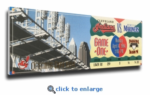 Cleveland Indians 1994 Opening Day / First Game at Jacobs Field Canvas Mega Ticket (Small)