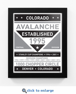 Colorado Avalanche Black and White Team Sign Print Framed