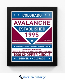 Colorado Avalanche Dual Tone Team Sign Print Framed