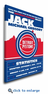 Detroit Pistons Personalized Canvas Birth Announcement - Baby Gift