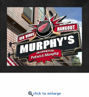 Detroit Red Wings Personalized Sports Room / Pub Sign Print