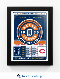 Detroit Tigers 1935 World Series Champions Vintage Framed Print