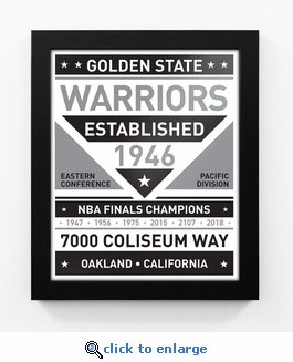 Golden State Warriors Black and White Team Sign Print Framed