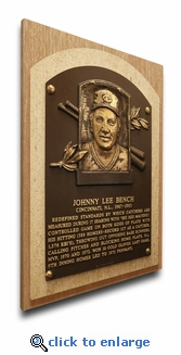 Johnny Bench Baseball Hall of Fame Plaque on Canvas - Cincinnati Reds