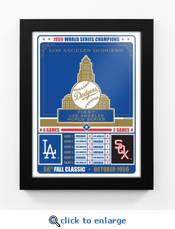 Los Angeles Dodgers 1959 World Series Champions Vintage Framed Print
