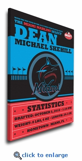 Miami Marlins Personalized Canvas Birth Announcement - Baby Gift