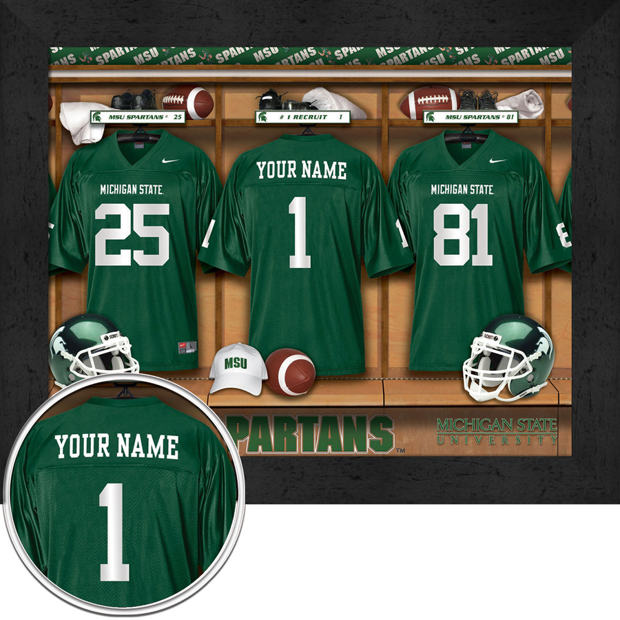 new concept 4b1e6 ca7b0 Michigan State Spartans Personalized Football Locker Room Print