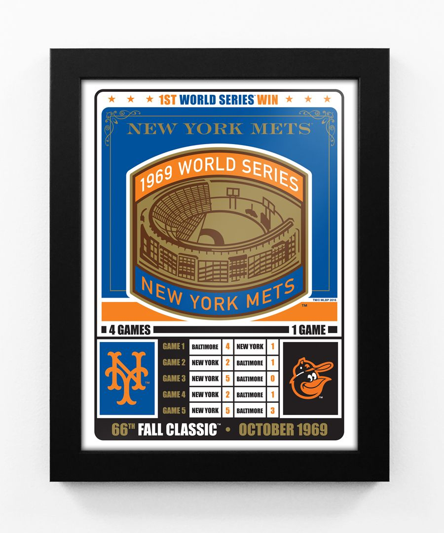 New York Mets 1969 World Series Champions Vintage Framed Print