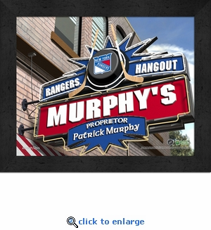 New York Rangers Personalized Sports Room / Pub Sign Print