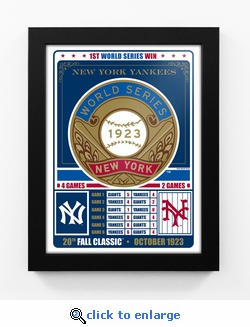 New York Yankees 1923 World Series Champions Vintage Framed Print