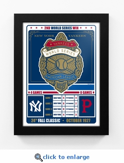 New York Yankees 1927 World Series Champions Vintage Framed Print